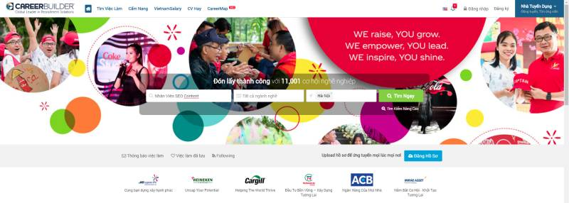 Website hỗ trợ tìm việc Careerbuilder.vn