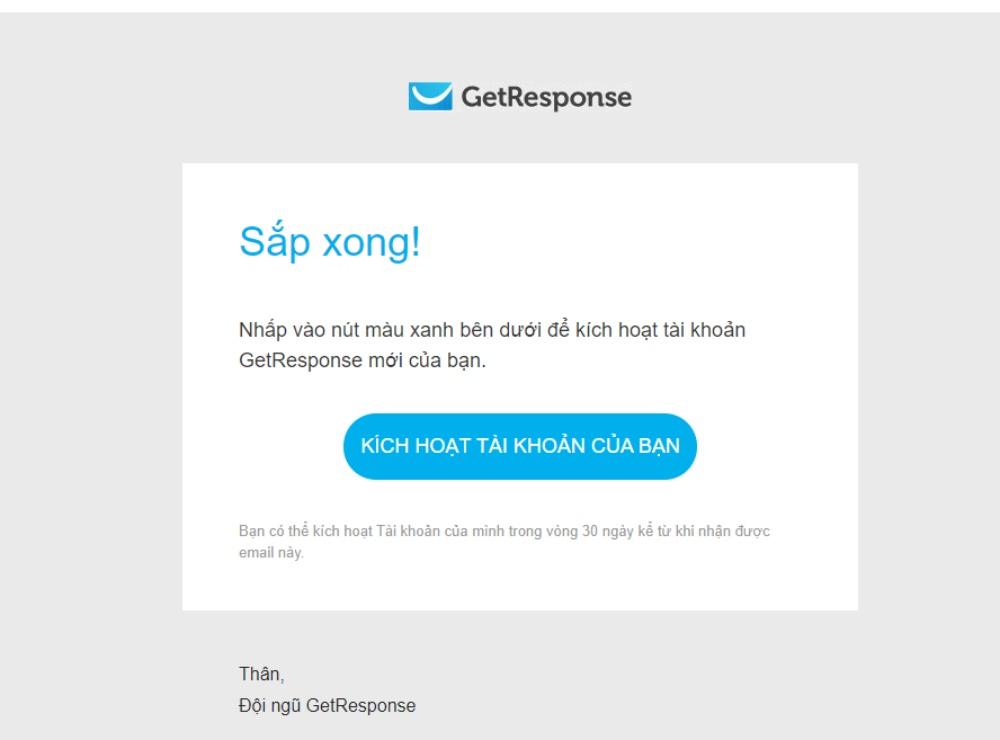 Nhấn vào nút màu xanh để kích hoạt tài khoản GetResponse