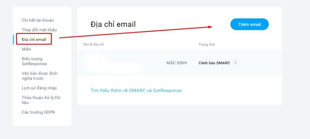 Thêm tên và email