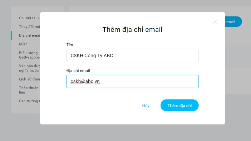 Điền tên và email người gửi