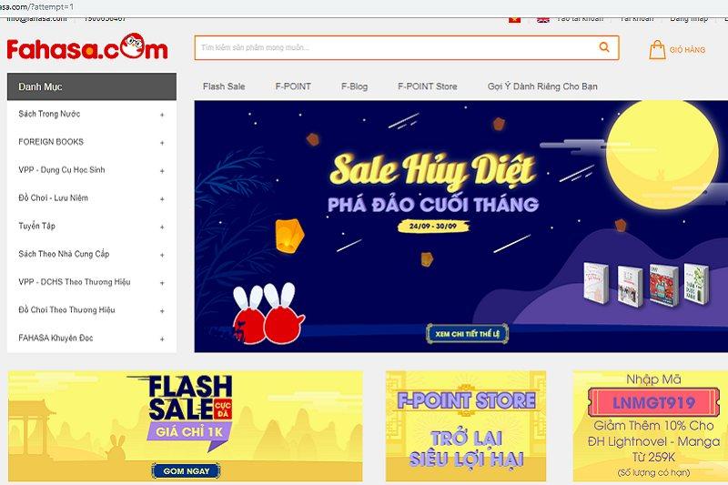 Web bán sách online fahasha