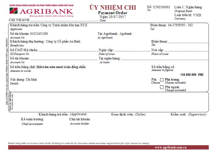 Mẫu ủy nhiệm chi ngân hàng Nông nghiệp và Phát triển Nông thôn Agribank