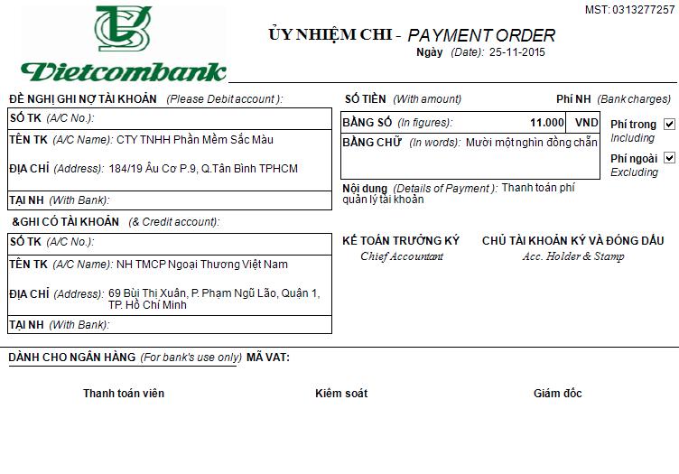 Ủy nhiệm chi Vietcombank