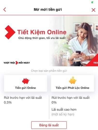 Hướng dẫn mở tài khoản tiết kiệm online Techcombank