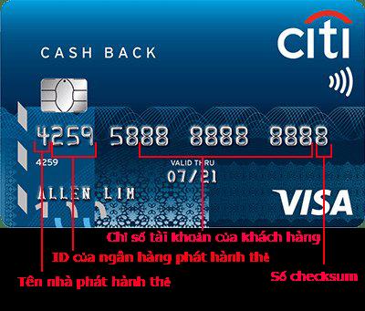 Thông tin biểu thị của dãy số thẻ tín dụng