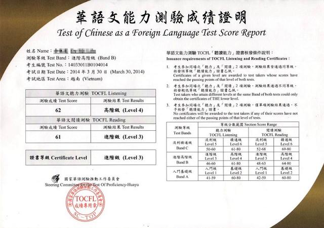 Cần có chứng chỉ TOCFL để đi du học Đài Loan