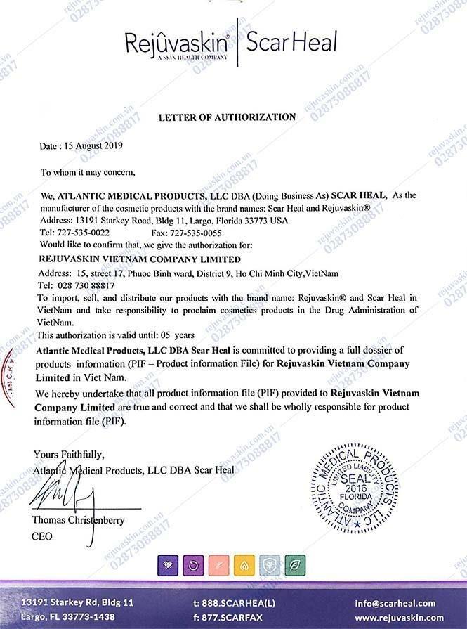 Rejuvaskin Việt Nam là công ty được Rejuvaskin Hoa Kỳ ủy quyền là đại diện chính thức và hợp pháp duy nhất tại Việt Nam nhập khẩu và phân phối sản phẩm Rejuvaskin